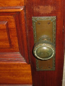 Decorative brass doorknobs with backplates....