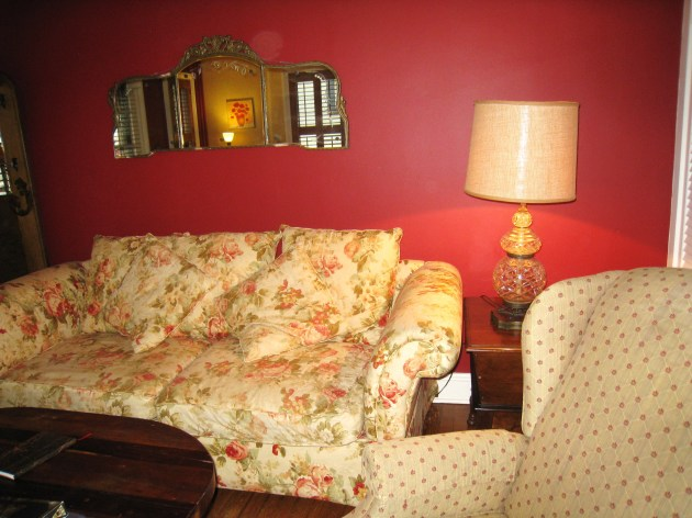 A small section of the living room, where we spend most of our writing time snuggled on the couch. :D