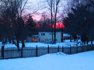Winter sunset, which we also can't see when the trees are in full leaf bloom.